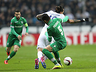 FOOTBALL: Federico Santander of FC Copenhagen is brought down by José Luis Palomino of PFC Ludogorets Razgrad during the UEFA Europa League round of 32, second leg, match between FC København and PFC Ludogorets Razgrad at Parken Stadium, Copenhagen, Denmark on February 23, 2017. Photo: Claus Birch