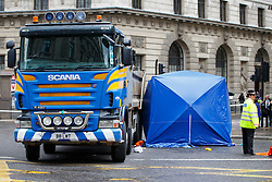 © Licensed to London News Pictures. 22/06/2015. London, UK. A female cyclist dies in a crash with a tipper truck at Bank junction in London during morning rush hour on Monday, June 22, 2015. Photo credit: Tolga Akmen/LNP