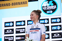 Cecilie Uttrup Ludwig (DEN) is awarded the climber's prize at La Course by Le Tour de France 2018, a 112.5 km road race from Annecy to Le Grand Bornand, France on July 17, 2018. Photo by Sean Robinson/velofocus.com