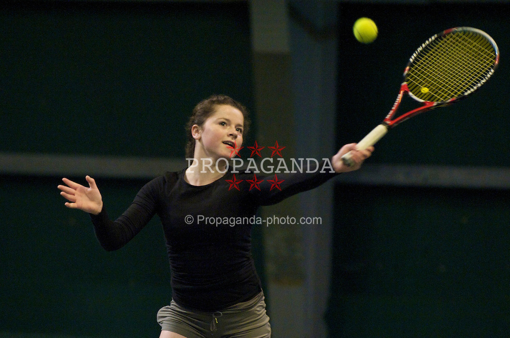 OSLO, NORWAY - Saturday, December 19, 2009: Amy Askew during the Northern Vision Tennis Academy at the Riksanlegget. (Pic by David Rawcliffe/Propaganda)