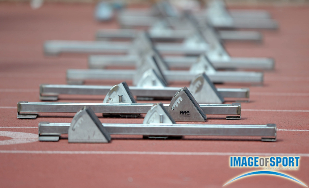 Apr 27, 2012; Philadelphia, PA, USA; General view of starting blocks at the 118th Penn Relays at Franklin Field.