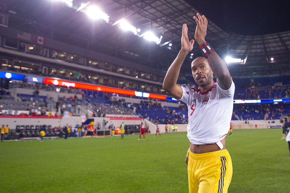 HARRISON, NJ - SEPTEMBER 14:  Thierry Henry #14 of New York Red Bulls gestures to the crowd after defeating  the Toronto FC at Red Bulls Arena on September 14, 2013. (Photo By: Rob Tringali)