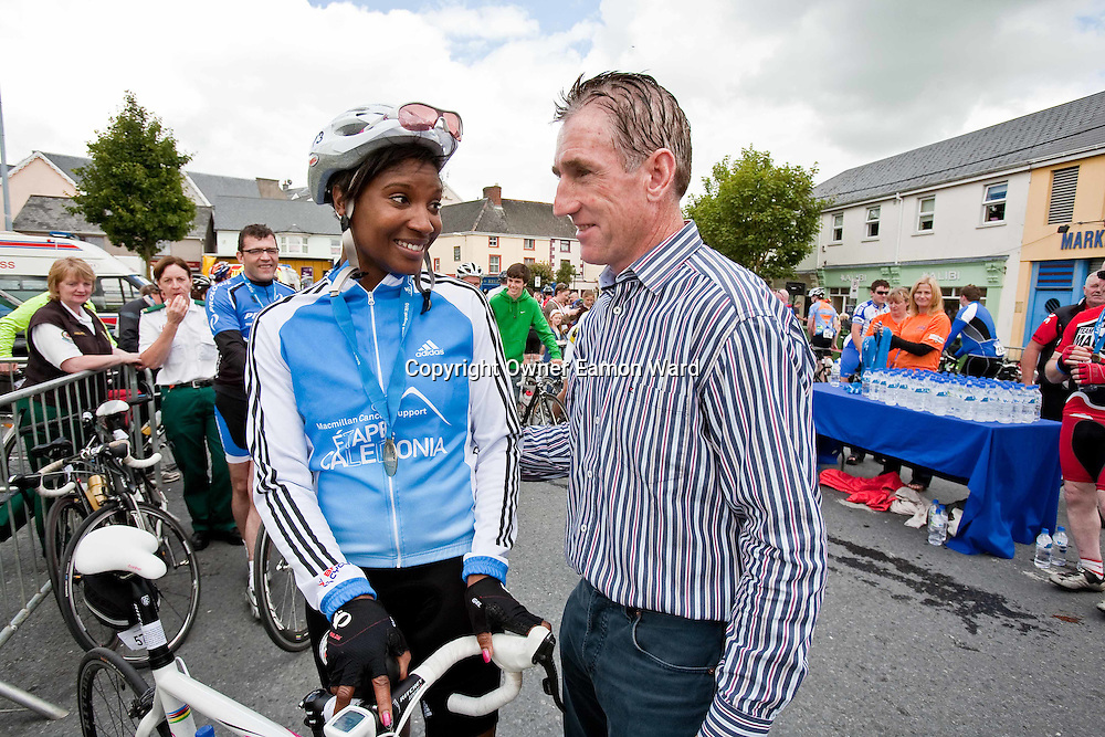 Olympic Athlete Denise Lewis and Sean Kelly after the Etap Hibernia Sky Ride in Ennis on Sunday. Photograph by Eamon Ward