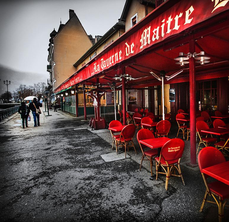 La Taverne de Maitre Kanter along the Thiou Canal in Annecy, France. March, 2013