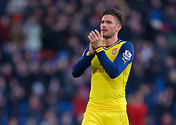 LONDON, ENGLAND - Saturday, February 21, 2015: Arsenal's Oliver Giroud celebrates his side's 2-1 victory over Crystal Palace during the Premier League match at Selhurst Park. (Pic by David Rawcliffe/Propaganda)