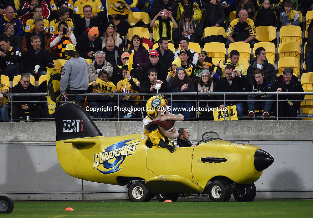 Mascot Captain Hurricane during the Super Rugby Final between the Hurricanes and Highlanders at Westpac Stadium in Wellington., New Zealand. Saturday 4 July 2015. Copyright Photo: Andrew Cornaga / www.Photosport.nz