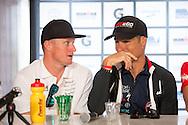 Luke McKenzie (AUS) and Craig Alexander (AUS), March 21, 2014 - Ironman Triathlon : Official Press Conference, Café Racer - 15 Marine Parade, St Kilda, Melbourne, Victoria, Australia. Credit: Lucas Wroe