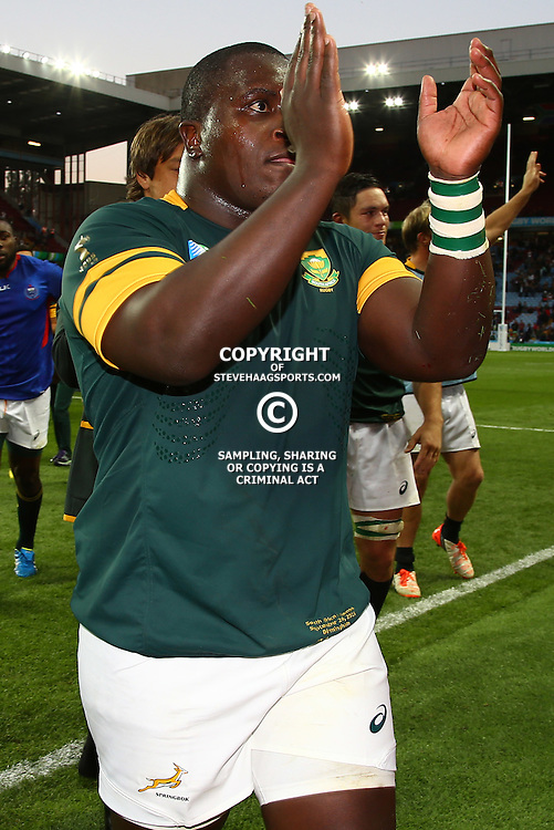 BIRMINGHAM, ENGLAND - SEPTEMBER 26: Trevor Nyakane of South Africa during the Rugby World Cup 2015 Pool B match between South Africa and Samoa at Villa Park on September 26, 2015 in Birmingham, England. (Photo by Steve Haag/Gallo Images)