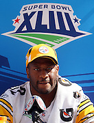 TAMPA, FL - JANUARY 27: Linebacker James Harrison #92 of the AFC Pittsburgh Steelers speaks to the media during Super Bowl XLIII Media Day at Raymond James Stadium on January 27, 2009 in Tampa, Florida. ©Paul Anthony Spinelli *** Local Caption *** James Harrison