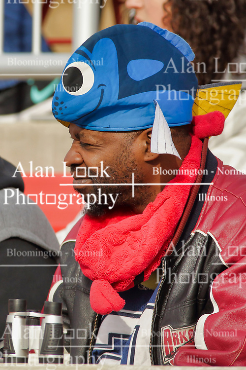 NORMAL, IL - October 13: Redbird fan with a fish hat during a college football game between the ISU (Illinois State University) Redbirds and the Southern Illinois Salukis on October 13 2018 at Hancock Stadium in Normal, IL. (Photo by Alan Look)