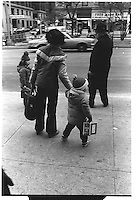 Woman with children and old man. Broadway, Upper West Side, Street photography. 1980
