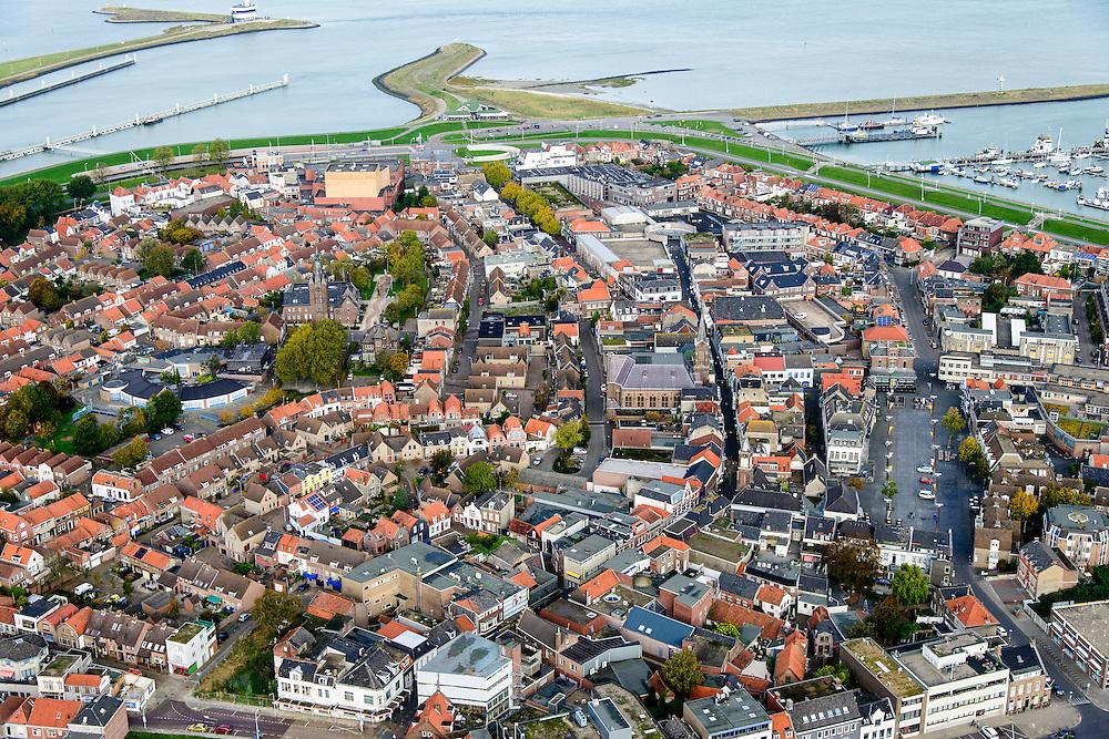 Nederland, Zeeland, Zeeuws-Vlaanderen, 19-10-2014; centrum Terneuzen.<br /> Downtown Terneuzen.<br /> luchtfoto (toeslag op standard tarieven);<br /> aerial photo (additional fee required);<br /> copyright foto/photo Siebe Swart