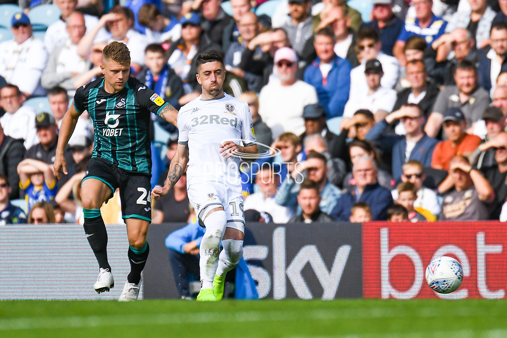 Leeds United midfielder Pablo Hernandez (19) passes the ball during the EFL Sky Bet Championship match between Leeds United and Swansea City at Elland Road, Leeds, England on 31 August 2019.