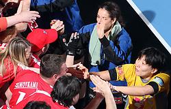 Sanja Damnjanovic and Ljudmila Bodnjeva at handball match at Main round of Champions League between RK Krim Mercator, Ljubljana and CS Oltchim Rm. Valcea, Romania, in Arena Kodeljevo, Ljubljana, Slovenia, on 28th of February 2009. Krim won 35:34.