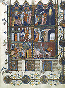 lst Crusade 1096-1099. Capture of Jerusalem by the Turks, torture and massacre of the Christians.  14th century illuminated manuscript