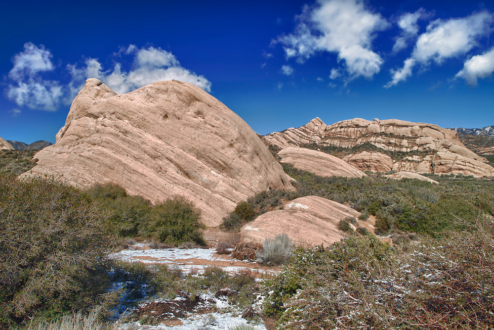 Mormon Rocks - Elevated North West View After Snow Dusting - HDR