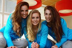 20-12-2013 VOLLEYBAL: PERSCONFERENTIE ORANJE MANNEN EN VROUWEN: ARNHEM<br /> Op Papendal werd een perslunch met de Oranje mannen en vrouwen georganiseerd / Myrthe Schoot, Laura Dijkema en Robin de Kruijf<br /> &copy;2013-FotoHoogendoorn.nl