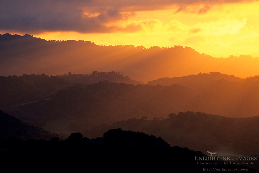 Sunset over the rolling East Bay hills in spring, Briones Regional Park, Contra Costa County, California
