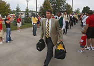September 12, 2009: Iowa offensive coordinator Ken O'Keefe arrives before the game between the Iowa Hawkeyes and the Iowa State Cyclons at Jack Trice Stadium in Ames, Iowa on September 12, 2009.