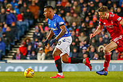 Alfredo Morelos during the William Hill Scottish Cup quarter final replay match between Rangers and Aberdeen at Ibrox, Glasgow, Scotland on 12 March 2019.