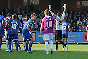 Max Crocombe leaves his net open as he goes up for a corner during the Sky Bet League 2 match between AFC Wimbledon and Barnet at the Cherry Red Records Stadium, Kingston, England on 3 October 2015. Photo by Stuart Butcher.
