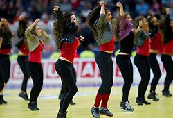 Dance group perform during halftime during final handball match between Serbia and Denmark at 10th EHF European Handball Championship Serbia 2012, on January 29, 2012 in Beogradska Arena, Belgrade, Serbia. Denmark defeated Serbia 21-19 and became European Champion 2012. (Photo By Vid Ponikvar / Sportida.com)