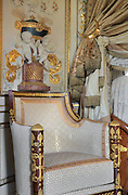 """Bergere, 1806, Jacob-Desmalter, magohany, ormolu, white silk velvet, Turkish Boudoir, redesigned in 1777 for Marie Antoinette, by architect Richard Mique, Chateau de Fontainebleau, France. The decoration is the achievement of the brothers Rousseau, and the furniture dates to the period of the First Empire, with precious textile work done by Jacob-Desmalter for Empress Josephine. Including a small bedroom, mirrors, and curtains raised by pulleys, this exceptional ensemble has been restored in 2014 thanks to the support of INSEAD and the generosity of subscribers of sponsors belonging to the group """"Des Mécènes pour Fontainebleau"""". Its opening to the public is scheduled for Spring 2015. Picture by Manuel Cohen"""