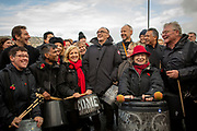Danny Boyle with the Pandemonium Drummers from the London 2012 Olympic Ceremonies perform Symphony of Waves created for the Armistice Day centenary remembrance event 'Pages of the Sea' on Folkestone Harbour Arm, Folkestone Kent. 11th November 2018. Presented by over 40 drummers, the semi-improvised piece explores the concern, anxiety, and commitment of those who left home and started a journey across the sea to fight in World War One, from which many did not return. Performed on buckets and bins is is designed to evoke memories of a pleasant land left behind and outlooks of an uncertain future. (photo by Andrew Aitchison / In pictures via Getty Images)