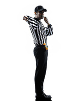 american football referee whistle whistling in silhouette on white background