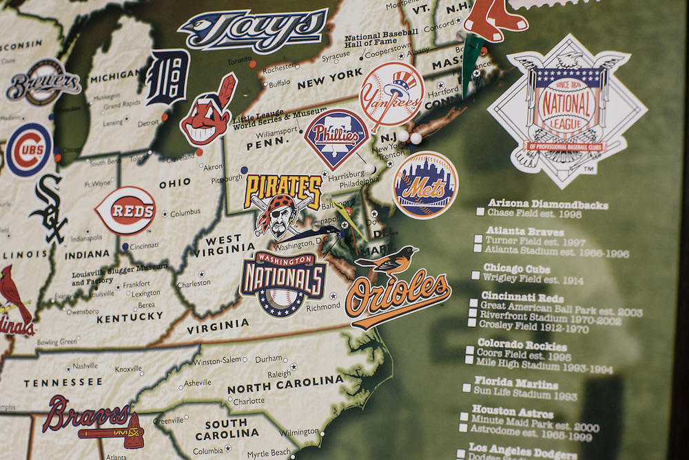 Hanging on Meredith Case Ellison, 13, and her mom Lauren Case's wall, is a map of baseball stadiums they've been to, including the Washington Nationals and the Baltimore Orioles.