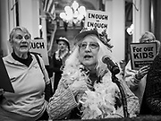 "23 JANUARY 2020 - DES MOINES, IOWA: JAN HILL, from Des Moines, a member of the ""Raging Grannies,"" leads a song about the dangers of factory farms during a rally in the Iowa State Capitol against factory farms. About 75 people, including farmers, environmental activists, and supporters of family farms, came to a protest in the rotunda of the state capitol in Des Moines. They are trying to pressure Iowa lawmakers to pass a moratorium against new factory farm construction in Iowa.      PHOTO BY JACK KURTZ"