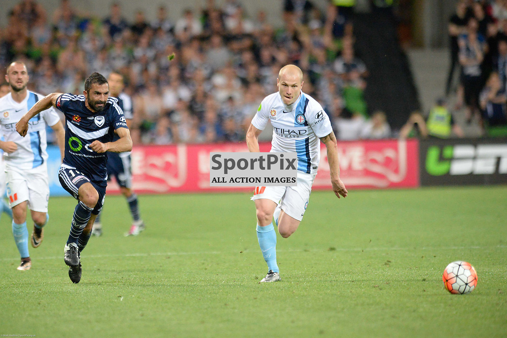 Fahid Ben Khalfallah of Melbourne Victory, Aaron Mooy of Melbourne City - Hyundai A-League, 19th December 2015, RD11 match between Melbourne City FC v Melbourne Victory FC at Aami Park in a 2:1 win to City in front of a 23,000+ crowd. Melbourne Australia. © Mark Avellino | SportPix.org.uk