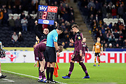Swansea City forward Oliver McNurnie (9) comes on in place of Swansea City defender Joe Rodon (22) during the EFL Sky Bet Championship match between Hull City and Swansea City at the KCOM Stadium, Kingston upon Hull, England on 22 December 2018.