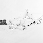 Graphite drawing of a female model in repose.