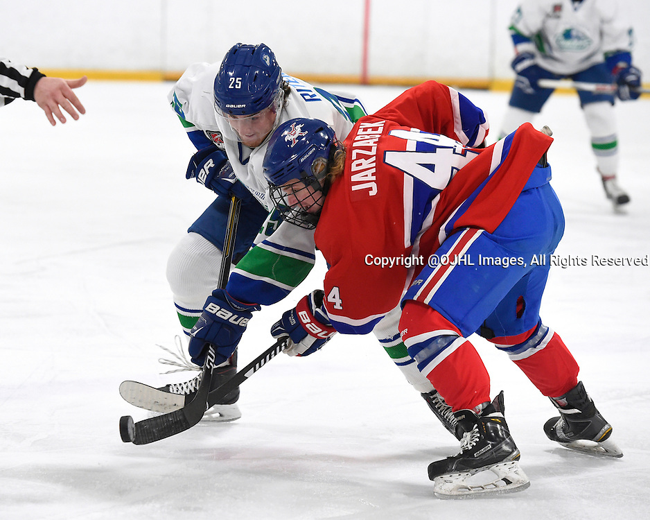 BURLINGTON, - Mar 2, 2016 -  Ontario Junior Hockey League game action between Burlington Cougars and the Toronto Junior Canadians. Game 1 of the first round playoff series at the Appleby Ice Centre, ON. Tyler Riter #25 of the Burlington Cougars battles for the puck with Nicholas Jarzabek #44 of the Toronto Jr. Canadiens during the first period.<br /> (Photo by Andy Corneau / OJHL Images)