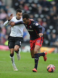 Reading Jordan Obita fights of Derby Jesse Linguard, Derby County v Reading, FA Cup 5th Round, The Ipro Stadium, Saturday 14th Febuary 2015
