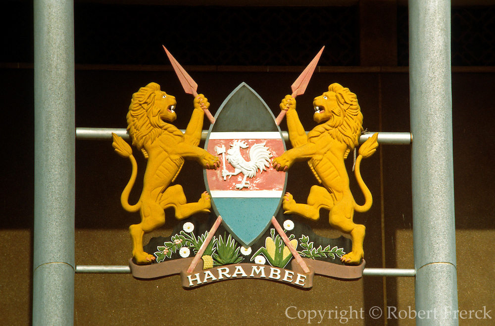 KENYA, NAIROBI the National Parliament Buildings with detail of the National Seal above the entrance