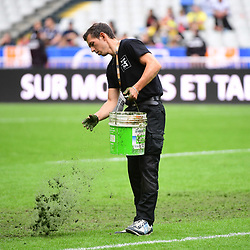Groundstaff make repairs to the pitch ahead of the Top 14 Final between Toulouse and Clermont at Stade de France on June 15, 2019 in Paris, France. (Photo by Dave Winter/Icon Sport)