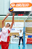 Volleyball match final between SO Serbia (white-red) and SO Germany (black) during of The Special Olympics Unified Volleyball Tournament at Ursynow Arena in Warsaw on August 29, 2014.<br /> <br /> Poland, Warsaw, August 29, 2014<br /> <br /> For editorial use only. Any commercial or promotional use requires permission.<br /> <br /> Mandatory credit:<br /> Photo by © Adam Nurkiewicz / Mediasport