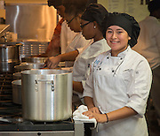 Rocio Morin prepares a meal in the culinary kitchen at Jordan High School for Careers, December 7, 2016.