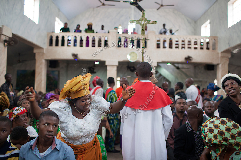 Devotees are taking part to a Mass Service at Saint Theresa's Christian Catholic Church in Jos, Plateau State, Nigeria. Saint Theresa's is the first Christian Catholic Church built in Jos, in 1923.