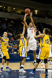 Virginia forward Lyndra Littles (1) shoots a jump shot over UCSB guard Jessica Wilson (5).  The #4 seed/#24 ranked Virginia Cavaliers defeated the #13 seed Santa Barbara Gauchos 86-52 in the first round of the 2008 NCAA Division 1 Women's Basketball Championship at the Ted Constant Convocation Center in Norfolk, VA on March 23, 2008