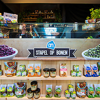 Netherlands, Amsterdam, July 6, 2016.<br /> Today the first beans pop-up store in the world opened its doors. On the Gelderlandplein in Amsterdam one can step into the world of beans during five days. Foodie Miljuschka Witzenhausen and chief cook Luc Kusters (Bolenius Restaurant, Best Vegetable Restaurant 2015) opened the store with a bean trial lesson. A children's jury chose the brownie beans as the most delicious bean dish. The pop-up store is an initiative of Albert Heijn in the context of the International Year of the Bean.