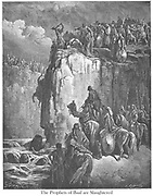 Slaughter of the Prophets of Baal [at The Kishon River] 1 Kings 18:38-40 From the book 'Bible Gallery' Illustrated by Gustave Dore with Memoir of Dore and Descriptive Letter-press by Talbot W. Chambers D.D. Published by Cassell & Company Limited in London and simultaneously by Mame in Tours, France in 1866