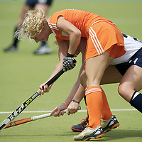 MONCHENGLADBACH - Junior World Cup<br /> Pool A: The Netherlands - USA<br /> photo: Lisa Scheerlinck (orange) and Kelsey Harbin (white). <br /> COPYRIGHT FRANK UIJLENBROEK FFU PRESS AGENCY