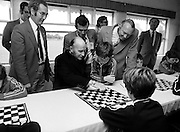 Passing on tactical advice: President Hillery visits the Community Games, Mosney, County Meath.<br /> 13 September 1980