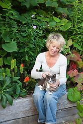 Carol Klein with Sylvia the cat