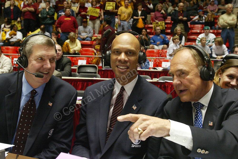 I shot that photo of Dick Enberg at the NCAA Regional men's basketball tournament in Salt Lake City vs. Creighton. However, Kareem Abdul Jabbar (and another man) are cropped out of the photo. Photo by Robert Barclay/Central Michigan University