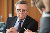 14 JUN 2016, BERLIN/GERMANY:<br /> Thomas de Maiziere, CDU, Bundesinnenminister, waehrend einem Interview, in seinem Buero, Bundesministerium des Inneren<br /> IMAGE: 20160614-01-020<br /> KEYWORDS: Büro, Thomas de Maizière