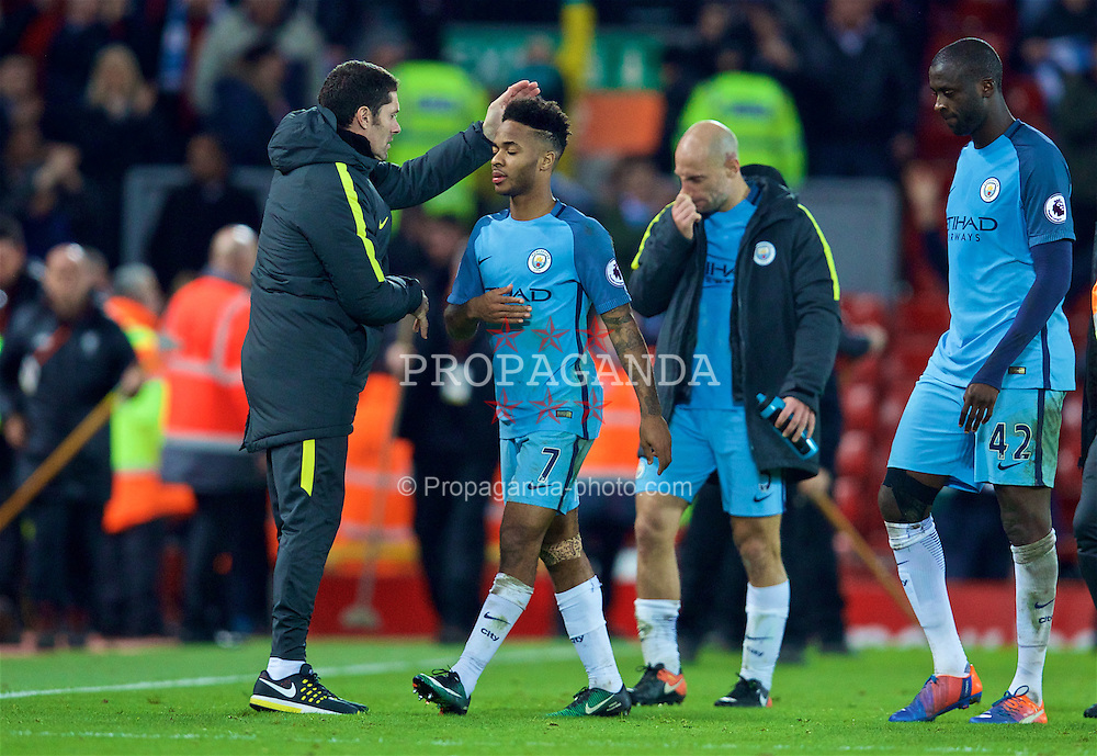 LIVERPOOL, ENGLAND - Saturday, December 31, 2016: Manchester City's Raheem Sterling walks off dejected after losing 1-0 to Liverpool during the FA Premier League match at Anfield. (Pic by David Rawcliffe/Propaganda)